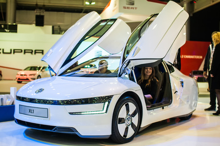 Poznan, Poland. 27th Mar, 2014. Poznan Motor Show is the largest fair event in Poland, the automotive industry, organized every year by the International Fair. On the picture Volkswagen XL1.