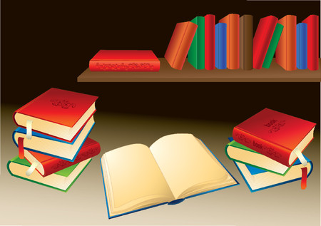 Books shelf in the background and an open book in front. Vector