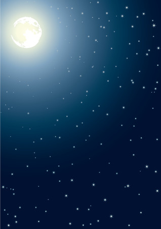 midnight time: The full moon in the night star sky