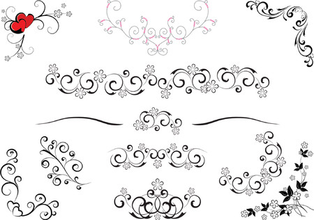 wonderful set of vector ornament rules, corners and designs