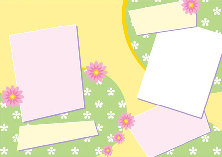 Vector Scrapbook Page Layout  featuring stylized flowers Vector