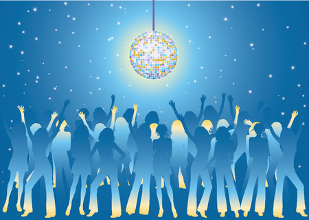 Vector illustration with silhouettes of the young girls dancing on a night party Vector