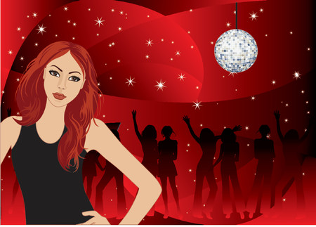 vector  illustration of a young girl dances on a night party