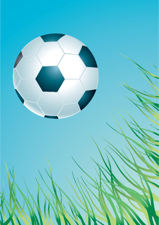 Soccer ball in the air with  blue sky and green grass in background Stock Vector - 1326176