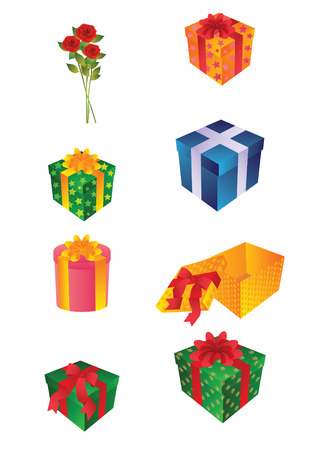 The vector illustration representing is a lot of gifts and a bouquet of roses Vector