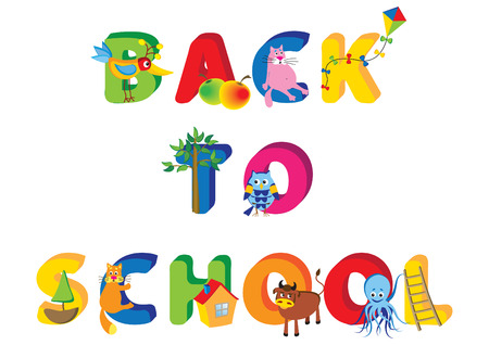 cartoon vector illustration  of a advert of a back to school