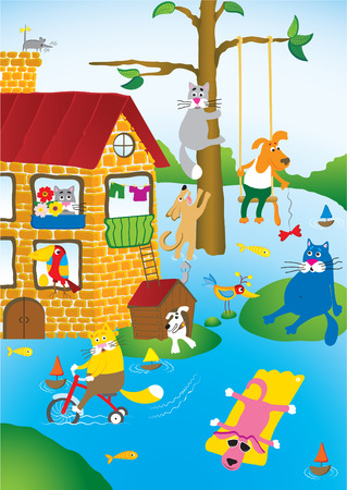 Cartoon landscape with flooding in city of pets Vector