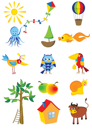 Vector set of cartoon characters and objects
