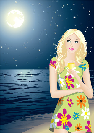 The young beautiful girl enjoys a starlit night Illustration