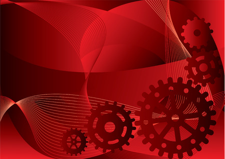 watch movement: Vector wallpaper some gears on a red abstract background