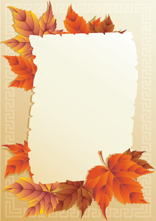Vector illustration - frame from autumn leaves