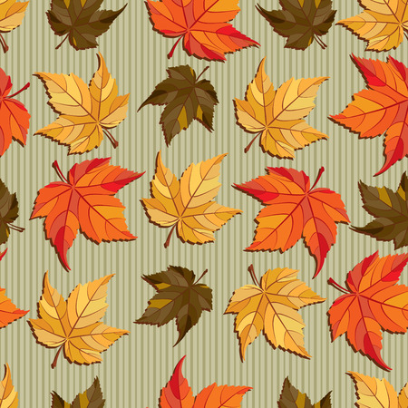 Vector seamless pattern - autumn leaves