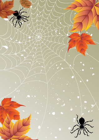 Vector illustration - backgrounds from autumn leaves and spiders Illustration