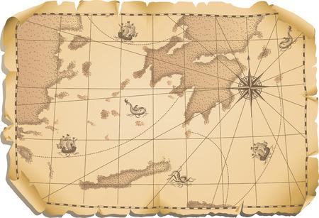Illustrazione vettoriale - vecchia mappa di sfondo