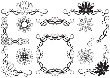 wonderful set of vector ornament rules, corners and designs Vector