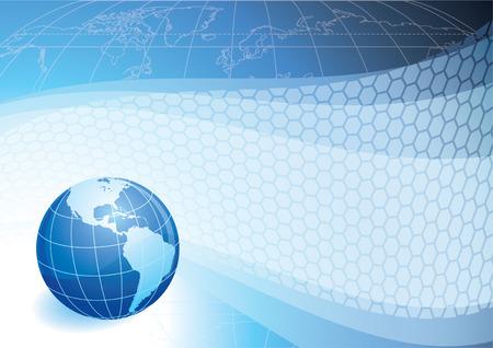 communications technology: Ilustraci�n vectorial - planeta azul en un resumen de antecedentes