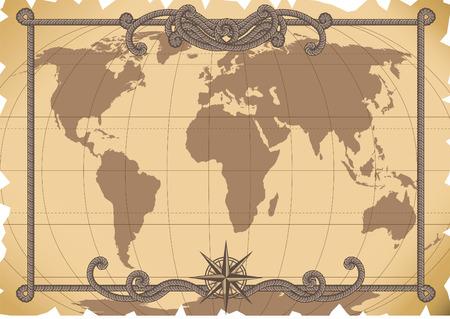 Illustrazione vettoriale - vecchia mappa di sfondo  Vettoriali