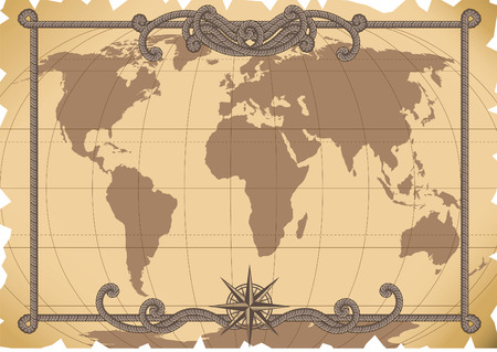 sailing vessel: Vector illustration - old map background Illustration