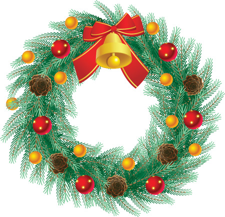 vector illustration - Beautifully decorated christmas wreath Vector