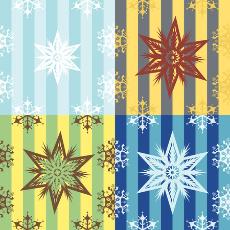 snowflakes seamless patterns (Four color variants) Vector