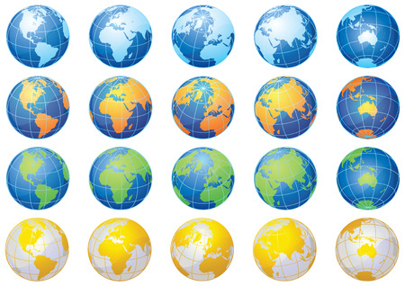 vector illustration - Set from 25 isolated multi-coloured globes Vector