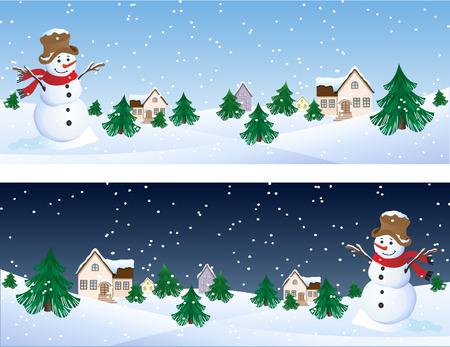 고요한 장면: Vector illustration - snowman whis winter background