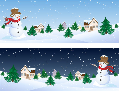 Vector illustration - snowman whis winter background