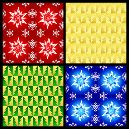 arranging:  Vector christmas seamless patterns (Four color variants)