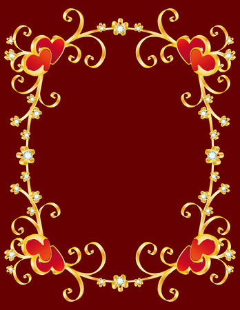 brilliant heart: vector illustration - valentines day border