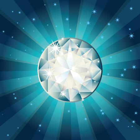 Vector illustration - diamond on a blue background Vector