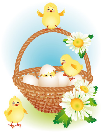 eggs in basket: vector illustration - easter greeting card Illustration