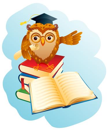 buho graduacion: Ilustraci�n vectorial - viejo sabio b�ho.  Vectores