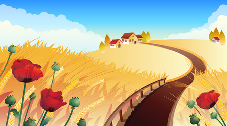 Vector illustrations - Landscape with wheat and poppy Illustration