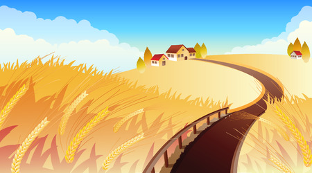 Vector illustrations - Landscape with wheat Stock Vector - 3500675
