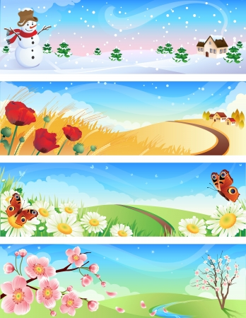 Vector illustration - four seasons landscapes