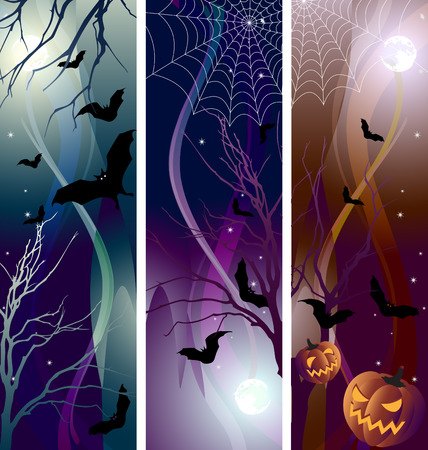 Vector illustration - halloween banner color variations
