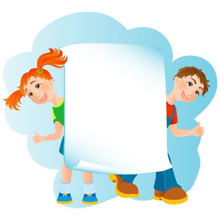 boy friend: vector illustration - kids banner Illustration