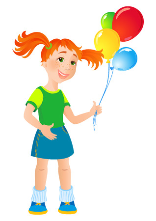 vector illustration - ginger girl with a balloon