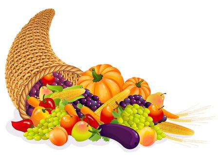 Vector illustration - Horn of Plenty with  vegetables and fruits Illustration