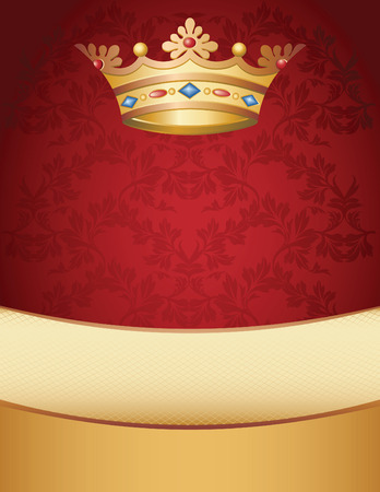 Vector illustration -  crown on a red background Vector