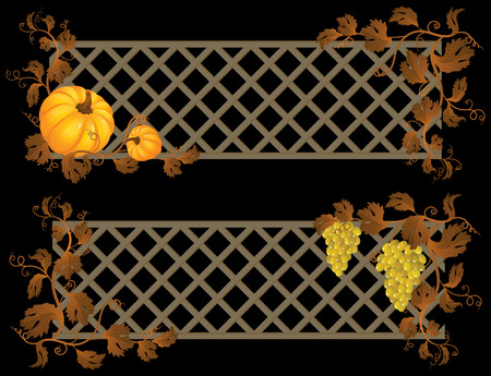 fale: Vector illustration -  pumpkin and grape banner Illustration