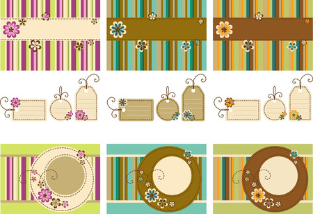Vector Scrapbook set - frames, tag and background  featuring stylized flowers