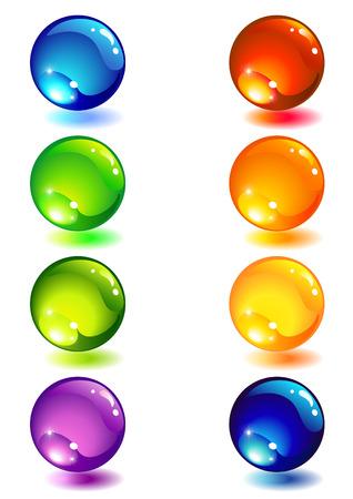 Vector illustration - Eight glass colour button Stock Vector - 3762255