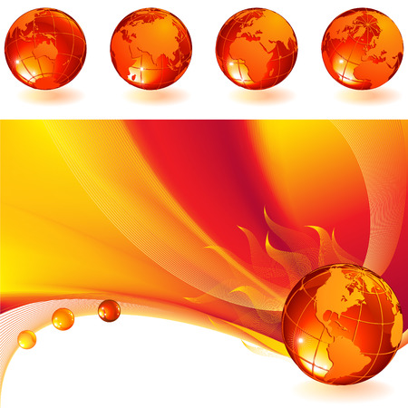 vector illustration - burning globe on a red abstract background Vector