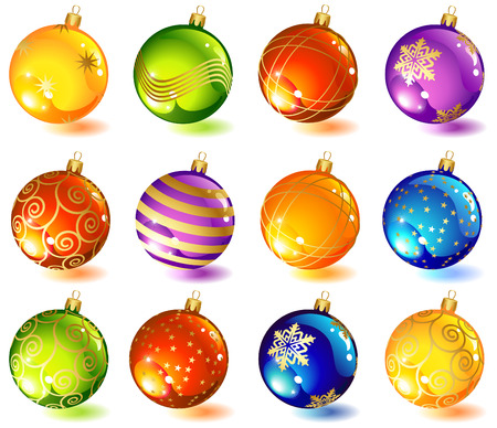 twelve: vector illustrations - twelve christmas glass ball