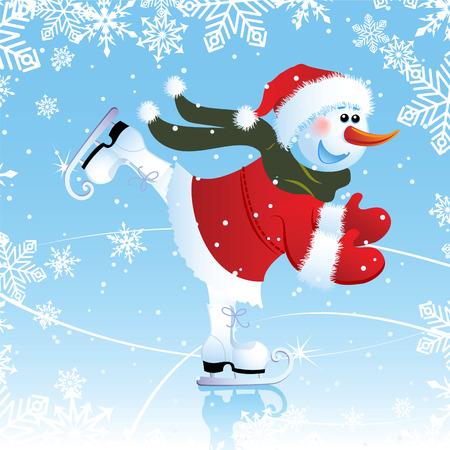 skating rink: Vector illustration - snowman on a skating rink