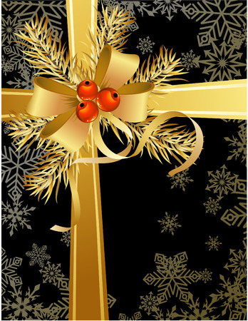 vector illustrations - black and gold christmas background Vector