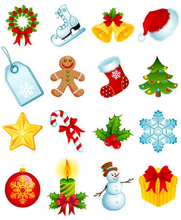 stockings: Vector illustration - set of christmas icons Illustration