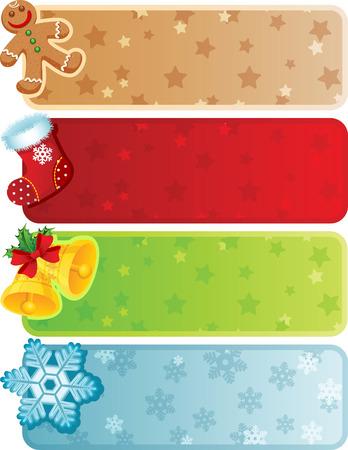 stockings: Vector illustration - Four christmas banner