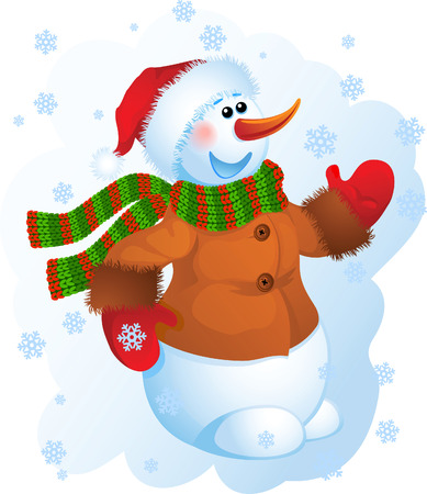 Vector illustration - snowman in a striped scarf